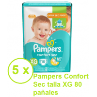 Pampers Confort Sec talla  XG 80 pañales