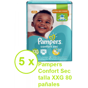 Pampers Confort Sec talla  XXG 80 pañales